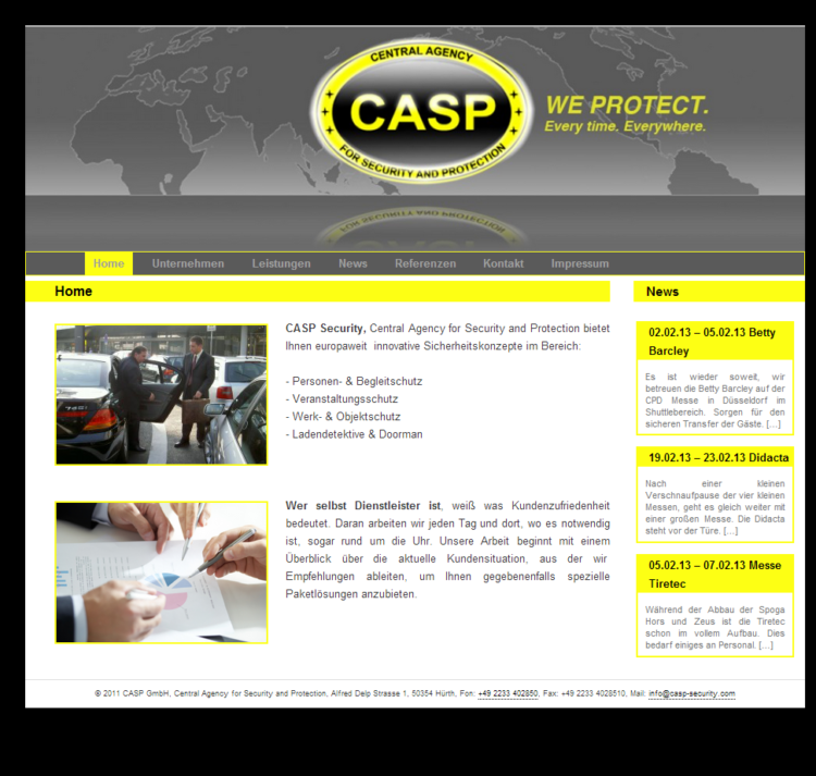 CASP Security - Desktop Ansicht