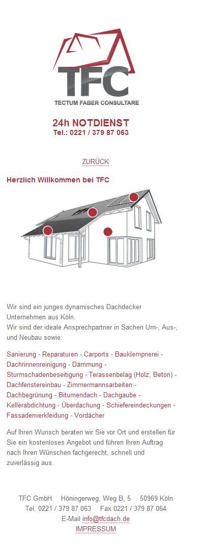 TFC Dach GmbH - Mobile Ansicht