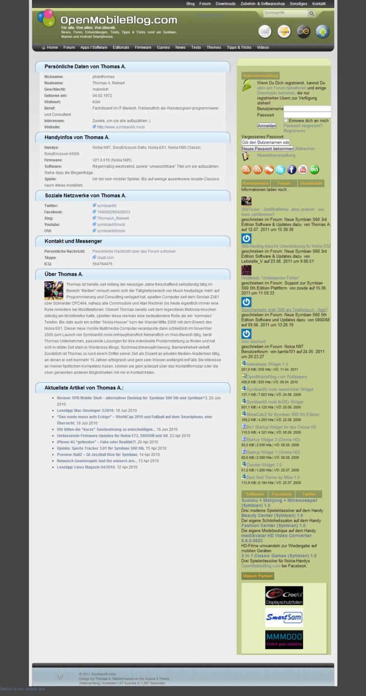 Symbian60.mobi - Nutzerprofil