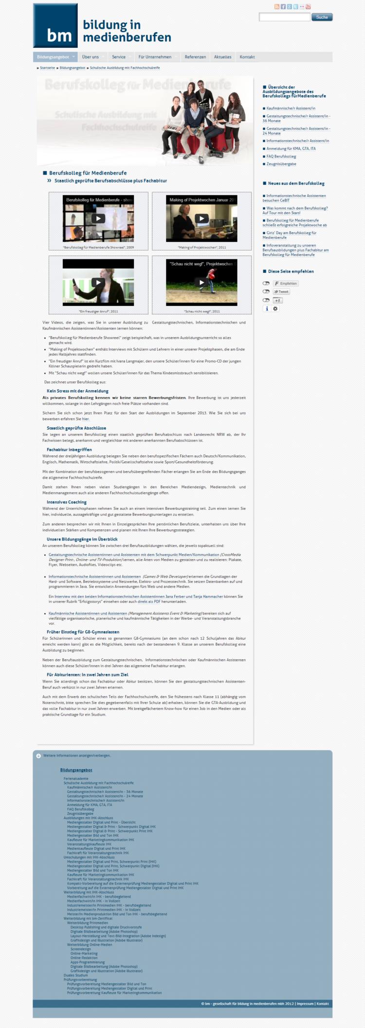 medienberufe.de - Kursseite inklusive Sitemap im Footer