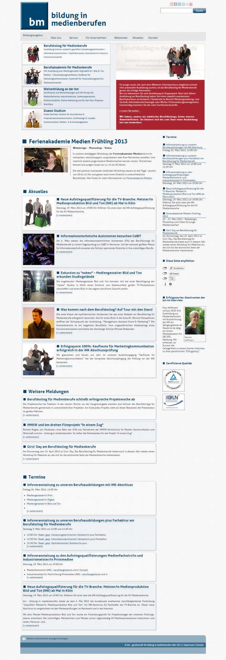 medienberufe.de - Startseite Desktopansicht