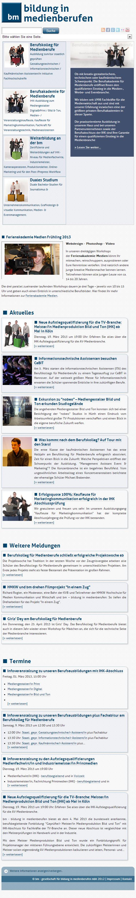 medienberufe.de - Startseite Mobile Ansicht