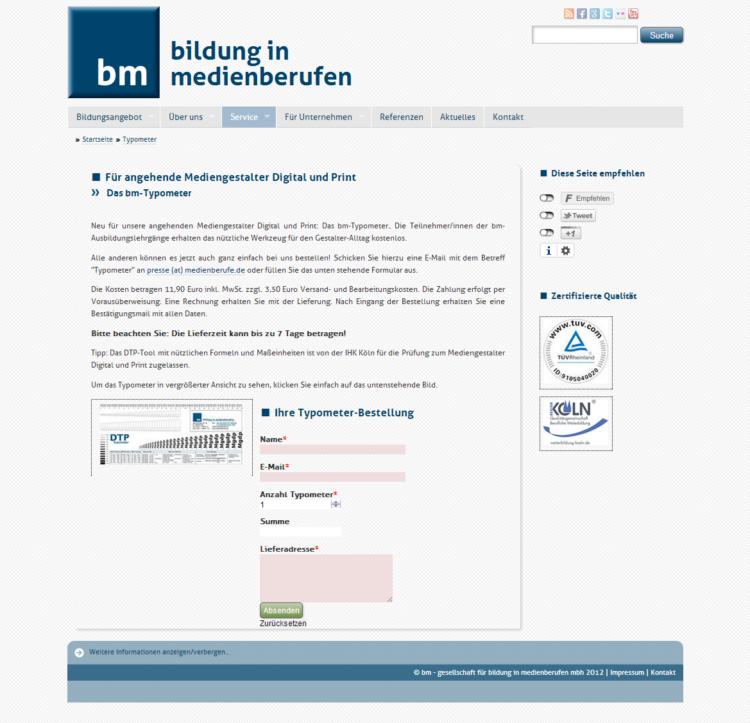 medienberufe.de - Typometerbestellung inkl. Conversion-Tracking