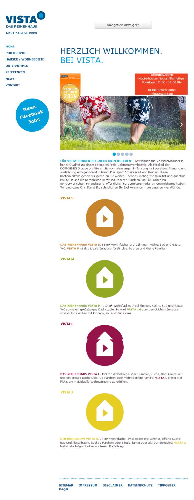 Vista Reihenhaus - Homepage, mobile Ansicht