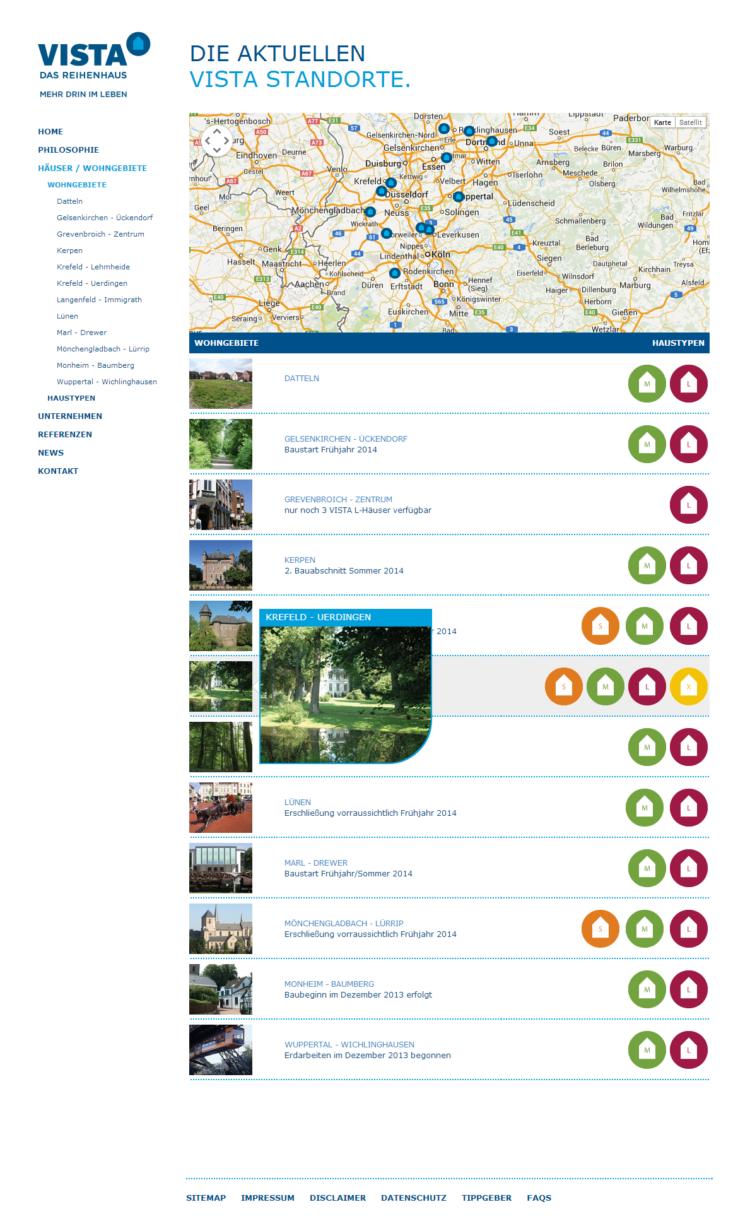 Vista Reihenhaus - Übersicht Wohngebiete