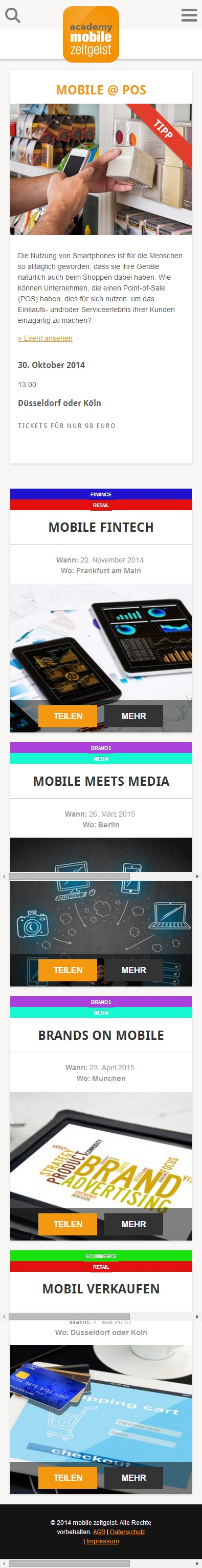 mzacademy.de - Startseite mobile