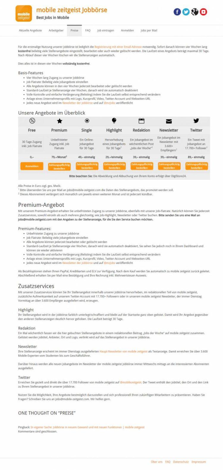 jobs.mobile-zeitgeist.com Preislisting Desktopansicht