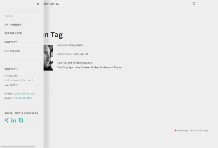 philipploeffel.com - Startseite mit Menü