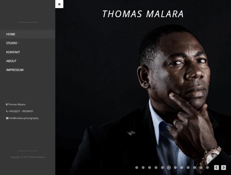 malara.photography - Startseite mit Menü