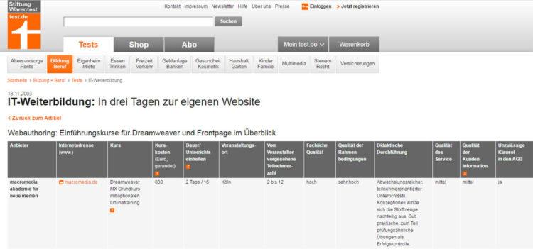 Stiftung Warentest - Bewertung Dreamweaver-Schulungen